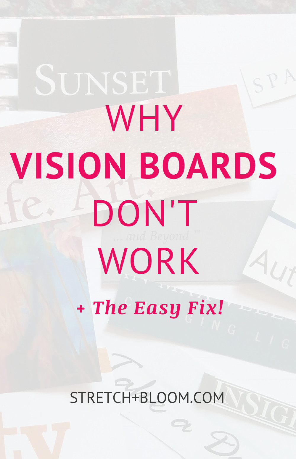 Manifestation is going mainstream and vision boards are all the rage. Now I really love seeing people catching up with this powerful tool, however nothing makes me cringe more than the idea that a vision board is a magic wand that will make dreams come true effortlessly. Click the pin to learn why they don't work.