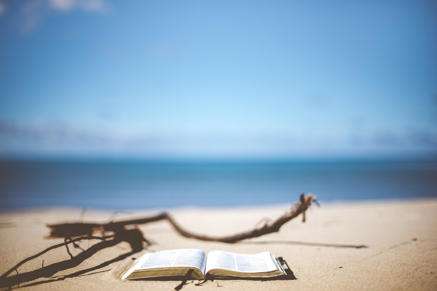 Personal planning retreat: closing ritual with book facing the ocean